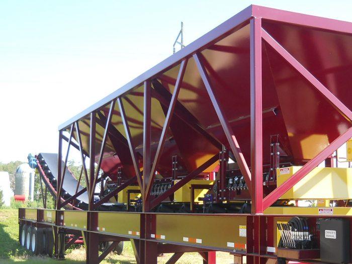 Red and yellow three bin portable blending hopper