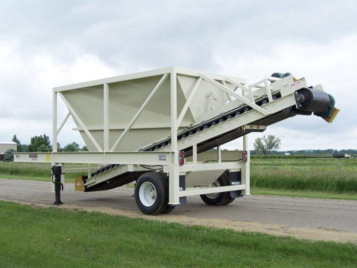 Wheeled portable feeder bin on display