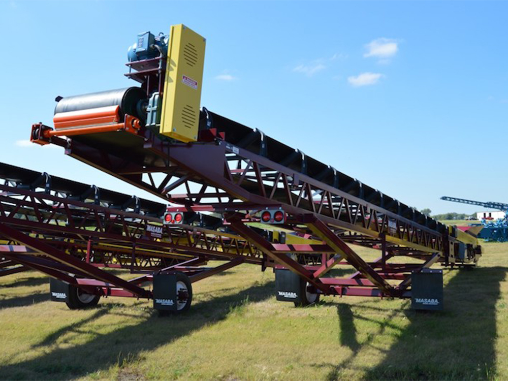 Portable radial stacking conveyors on display