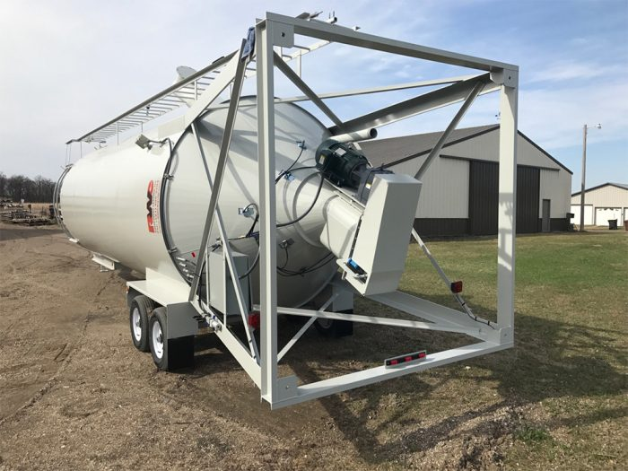 Tilt-up portable silo with motor and gear box