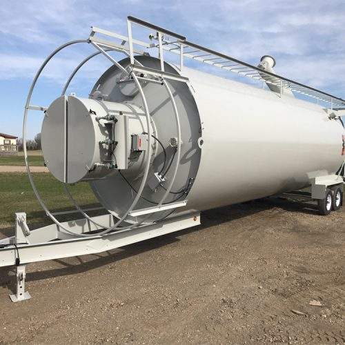 Tilt-up portable silo ready for transport