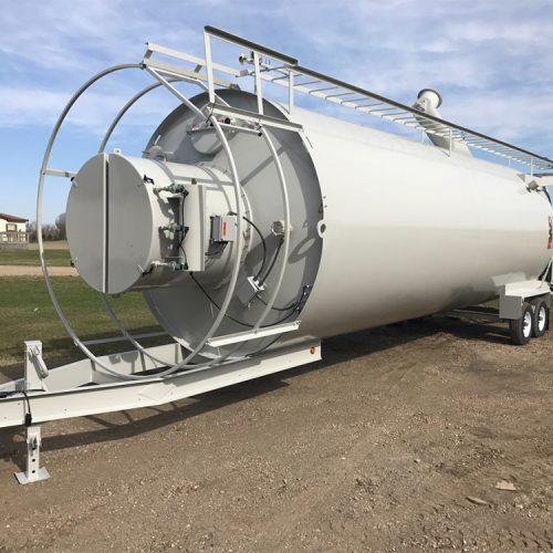 Tilt-up portable silo ready for transport